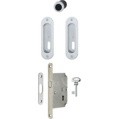 Set utopni ročaj za drsna vrata 4930 ključ krom sat